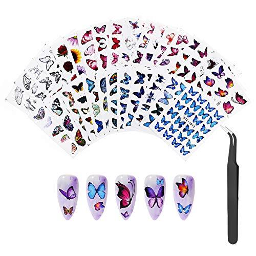 30 Blatt Nagelsticker Blumen Wassertransfer, Nagelaufkleber Selbstklebend Nagel Decals Nageltattoos Nail Art Stickers mit Pinzette for DIY Nagelkunst