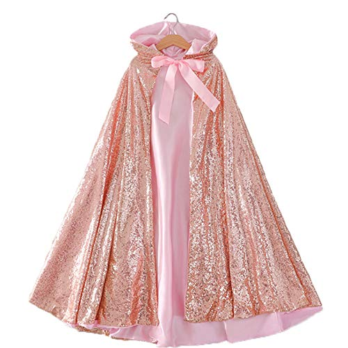 Vickorpen Princess Hooded Cape Cloaks for Little Girls Christmas Halloween Custome Cosplay Party Accessories(Rose Gold,L(130-150cm Height))