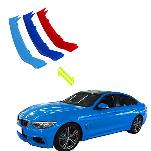 Exact Fit ///M-Colored Grille Insert Trims For 2014-2019 F32 F33 F36 4 Series 420i 428i 430i 435i 440i Regular Kidney Grill (For BMW 2014-2019 4 Series,9 Beams)
