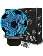 Dziecięca lampka nocna piłka nożna 3D złudzenie optyczne lampa z pilotem 16 zmieniających się kolorów piłka nożna urodziny Boże Narodzenie walentynki pomysł na prezent dla fanów sportu chłopców dziewczęta