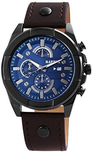 Raptor Herren-Uhr Armband Oberseite Leder Analog Quarzwerk RA20026-005