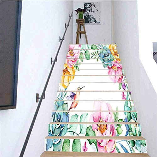 3D Colorful Art Self-Adhesive Stairs Risers Stickers Beautiful Watercolor Frame Border Roses Flow Mural Wallpaper Removable Decals for Home Decorative H7.08 x W39.3 Inch 13PCS/Set