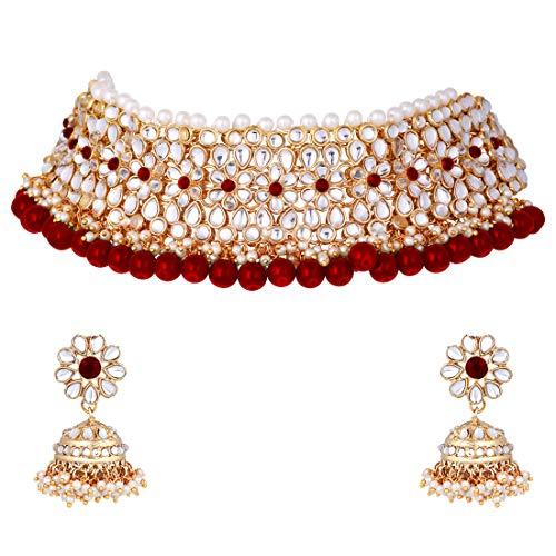 Aheli - Gargantilla de perlas estilo indio para boda, fiesta, étnico, Kundan, juego de pendientes de Jhumki para mujer, joyería festiva para fiesta de Bollywood (granate)