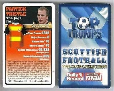Top Trumps Scottish Football Club collection card Partick Thistle JAGS Firhill