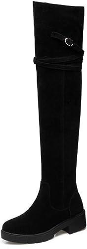 DANDANJIE Au-Dessus du Genou Bottes Femmes Chaussures de Mode d'hiver Bottes de Chevalier Student Noir