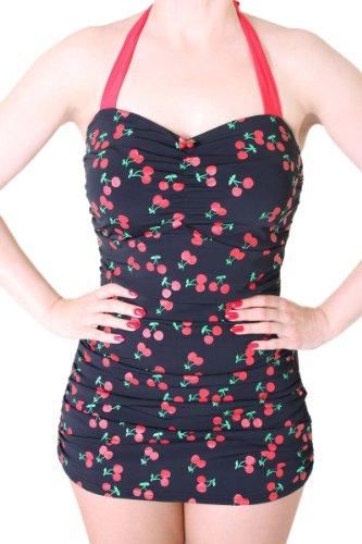 SugarShock 50er Retro Kirschen Cherry Badeanzug Rockabilly Pin Up, Größe:S, Farbe:schwarz/rot