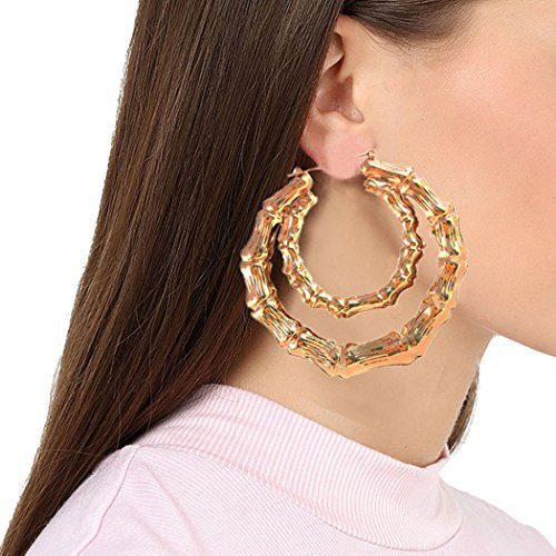 Celebrity Style Vintage Gold Plated Large Bamboo Hoop Earrings (Double Hoops)