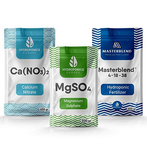 Masterblend 4-18-38 Komplettes Kombi Hydroponik Dünger Set | Hydroponic Nährstoffe System | Versand aus der EU | 1,5 Kg