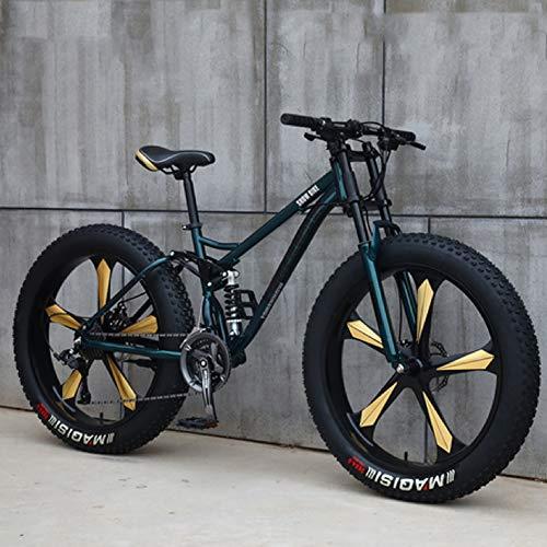 26 inch Mens Fat Tire Mountain Bike 21 Biciclette velocità Beach Neve con Doppio Freno A Disco E Leggero Ad Alta Acciaio al Carbonio Telaio,B