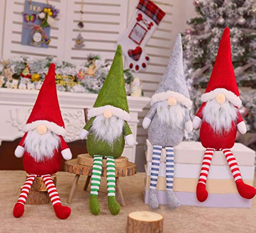Christmas Decorations, Stuffed Gnomes Christmas Ornaments Set Pack of 4 Colorful Scandinavian Gnomes Adorable Holidays with Gray, Green, and Red Troll Ornament (4 Pack)