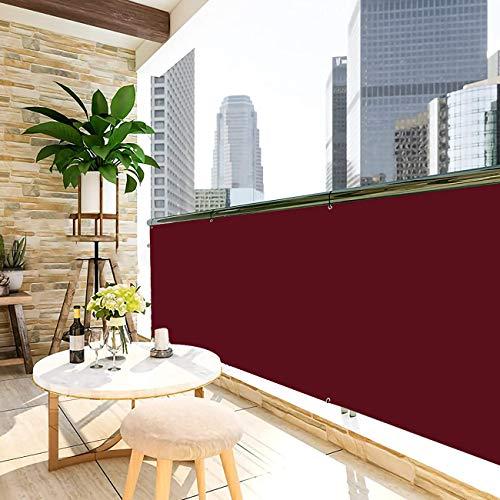 Bedtang Balcón privacidad, Toldos Exterior Lateral, 160g/㎡, Prueba de Viento Anti-Nieve Impermeable para Pantalla De BalcóN JardíN ProteccióN - Rojo Oscuro 0.75x3.5m