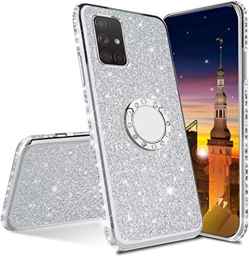 MRSTER Compatibile con Samsung Galaxy S21 Ultra Custodia Glitter Bling Scintillante Brillantini Custodia con Ring Kickstand Rotante a 360 Gradi Donna Cover per Galaxy S21 Ultra 5G. GS Silver
