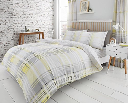 Gaveno Cavailia Jackson Check Luxurious Duvet Covers Quilt Covers Reversible Bedding Sets with Pillowcases (Yellow/Grey, Single)