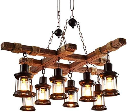 Retro Pendelleuchte Industrielle Hängeleuchte Steampunk Holzlampen Deckenleuchte Industrial Vintage 8 Lichter,Loft Bar Esszimmer Landhaus Kronleuchter Antik Metall Glas Holz Dekorativer Hängelamp
