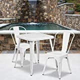 Flash Furniture Commercial Grade 23.75' Square White Metal Indoor-Outdoor Table Set with 2 Stack Chairs