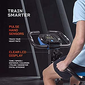 LifePro 3 in 1 Foldable Stationary Bike with Arm Workout, Heartrate Sensors, Adjustable Tension - Upright Folding Exercise Bike for Seniors, Men, Women, Beginners - Indoor Home Fitness Equipment