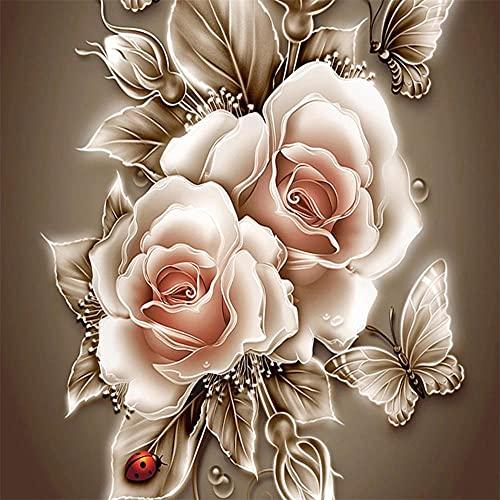 5D Diamond Painting Full Round drill Kits Flor rosa DIY Pintura de Diamante Rhinestone bordado de punto de cruz artes manualidades para decoración de la pared del hogar(60x60cm/24x24in)Round Drill
