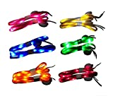 Jofan 6 Pairs Nylon LED Shoelaces Light Up Shoe Laces with 3 Modes