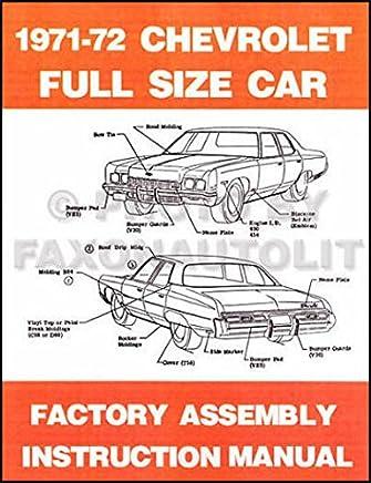 Biscayne /& Corvette Shop Manual 72 Bel Air Impala CHEVROLET 1972 Caprice