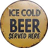 Placa de metal redonda con texto en inglés «Ice Cold Beer served here», apta para el hogar y la cocina, bar, cafetería, garaje, decoración de pared, retro, vintage, diámetro de 30,5 cm