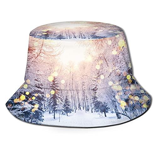Yearinspace Sombrero de pescador nieve bajo la lámpara moda plegable portátil Sun Caps Unisex al aire libre para jardinería protección UV