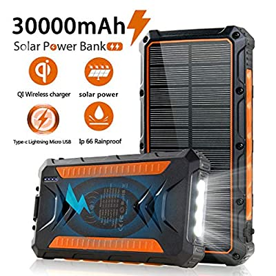 QiSa Solar Power Bank 30000mAh, Solar Charger,Portable Charger, Outputs 5V/3A High-Speed & 2 Inputs Huge Capacity Phone Charger for Smartphones, IP66 Rating, Strong Light LED Flashlights(Orange)