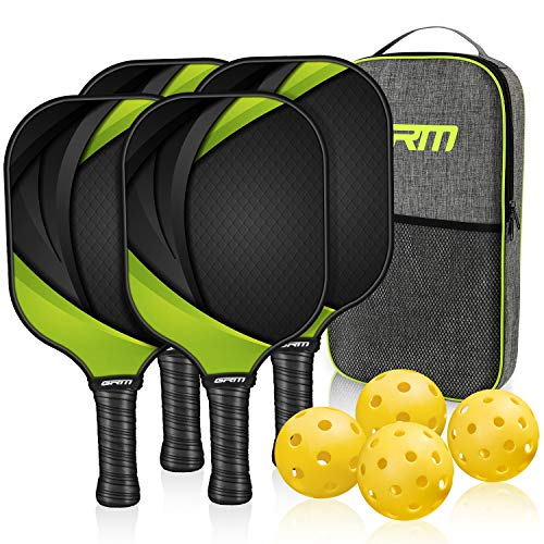 GRM Pickleball Paddles Set of 4, Graphite Pickleball Set Lightweight Pickleball Racket, 4 Pickleball Paddles and 4 Balls Including Portable Carry Bag (Green)