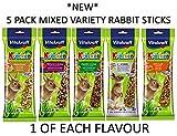 Vitakraft Assortiment de 5 paquets de kräckers pour lapin Friandises/bâtonnets à base de graines pour petits animaux (Une saveur délicieuse par paquet)
