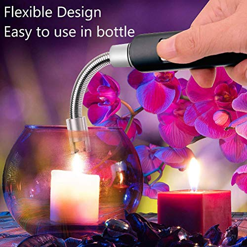 Electric Arc Lighter, imenou Flameless Electronic Kitchen Lighters with Rechargeable Li-ion Battery, 360° Flexible Neck Windproof Portable USB Lighter for Candle BBQ Camping Grilling Stove