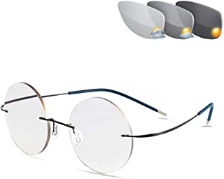 Geheugen titanium frameloze leesbril, ultralichte unisex zonnebril UV400 kleurverandering overgang presbyopie bril,+150