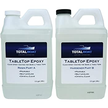TotalBoat Epoxy Resin Crystal Clear - 1 Gallon Epoxy Resin & Hardener Kit for Bar Tops, Table Tops & Countertops | Pro Epoxy Coating for Wood, Concrete, Art