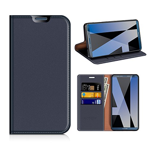 MOBESV Huawei Mate 10 PRO Wallet Case, Huawei Mate 10 PRO Leather Case/Phone Flip Book Cover/Viewing Stand/Card Holder for Huawei Mate 10 PRO, Dark Blue