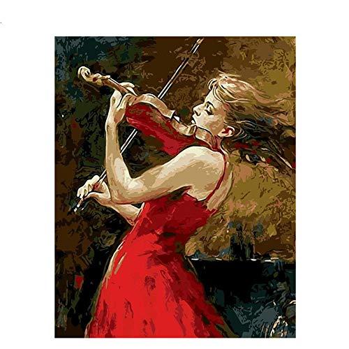 Blue and White Reflections Digitale Malerei von Frauen im roten Kleid, die Geige Spielen, rahmenloser Kombinationsrahmen, Leinwandfarbe, dekorative Malerei, 40x50 (16x20, Zoll), ohne Innenrahmen