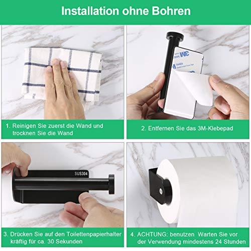 Toilettenpapierhalter Ohne Bohren Braoses Klopapierhalter SUS304 Edelstahl selbstklebend WC rollenhalter Wandmontage f¨¹r K¨¹che und Badzimmer 4