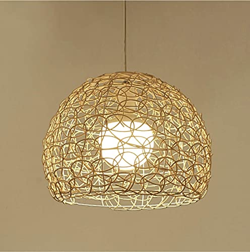 HLigExp - Lámpara de techo de mimbre esférico tejida a mano con lámpara hueca de ratán E27 altura ajustable para café, bar salón de té lustre (Hollow out)