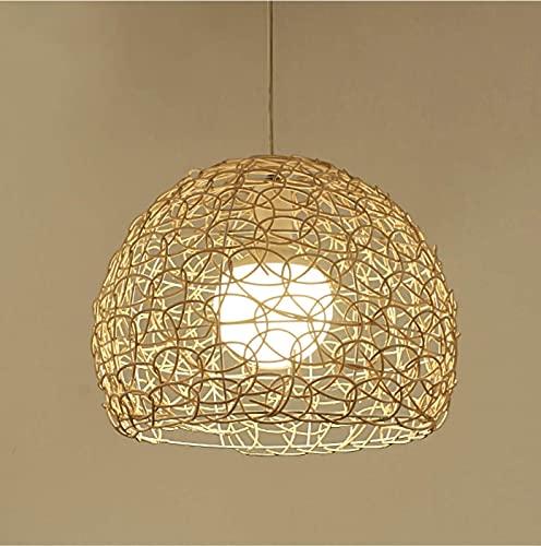 HLigExp - Lampadario a sospensione in rattan, lampadario a sfera intrecciato a mano in rattan E27, altezza regolabile, per caffè, bar, soggiorno da tè (Hollow Out)