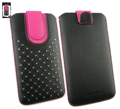 Emartbuy® Schwarz / Hot Rosa Edelsteinbesetzt Premium PU LederSlide in Hülle Case Cover Sleeve Cover Holder ( Größe 5XL ) Mit Ausziehhilfe Geeignet für Siswoo C55 Longbow 5.5 Zoll Smartphone