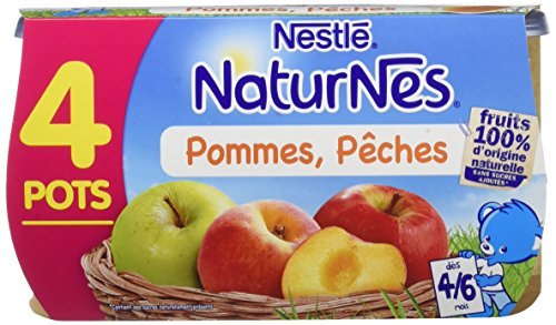 NESTLE NATURNES Compotes Bébé Pommes Pêches -Lot de 4 -Dès 4/6 mois