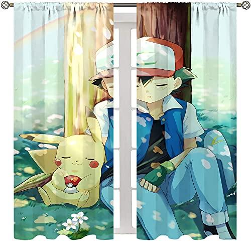 SSKJTC Cortinas opacas con bolsillo para barra para dormitorio, anime, Pokemon Ash Ketchum en el árbol, para sala de estar, habitación de los niños, 63 x L63 pulgadas