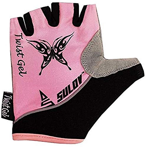 SULOV Kinder Twist Gel Fahrrad Handschuhe, Rosa, M