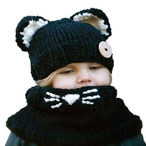 Winter Warm Knitted Beanies Caps Hood Scarf Animal Ear Hat Scarves for Children Black Cat