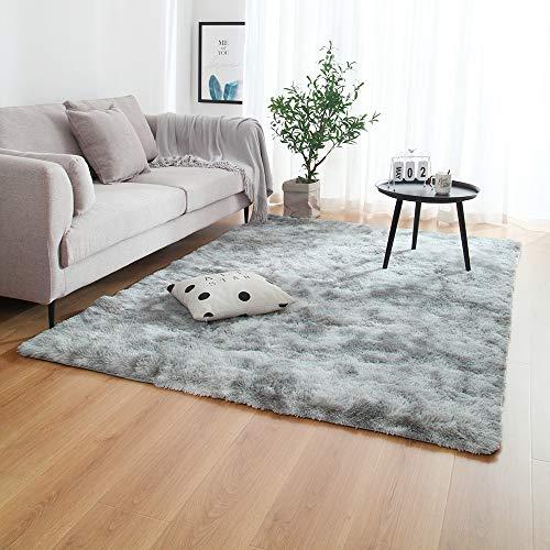 Multisize dormitorio de absorción de agua de alfombras Alfombras for la sala Dormitorio Alfombra lazo teñido felpa suave Alfombras antideslizante Tapetes ( Color : Gris claro , Talla : 100x200cm )