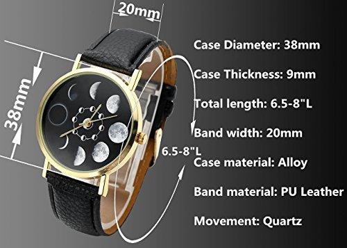 JSDDE Uhren,Fashion Damen Mondfinsternis-Muster Armbanduhr kein-Zifferskala Damenuhr Lederarmband Analog Quarzuhr,Schwarz - 5