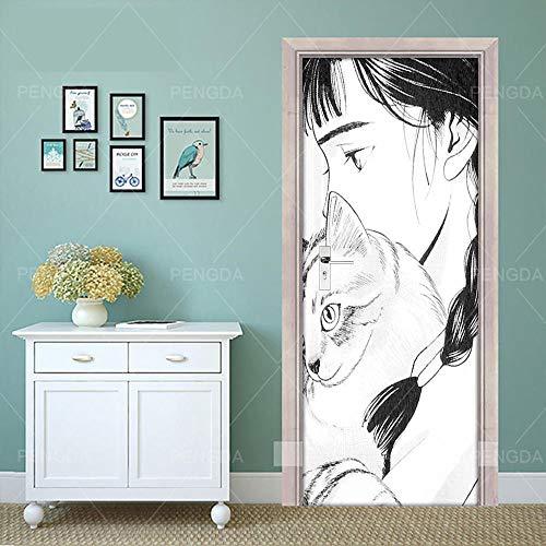 Deurfolie 3D Deurfolie Diy Muurschildering Waterdicht Behang Zelfklevende Deursticker Zwart Wit Kat Meisje Print Foto Renovatie Nieuwe Slaapkamer Home Decor-95X215Cm