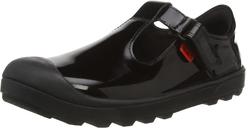 Kickers Girl's Plunk Mj School Uniform Shoe, Black, 4 us