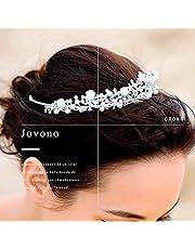 Jovono corone da sposa e diademi principessa cristallo bianco accessori per capelli da donna