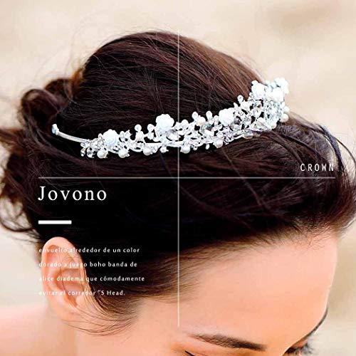 Jovono Coronas de boda y tiaras Princesa de cristal blanco