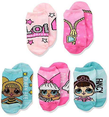LOL Surprise! Girls' Big 5 Pack No Show, Fits Sock Size 9-11; Fits Shoe Size 4-10.5, blue aqua/hot pink