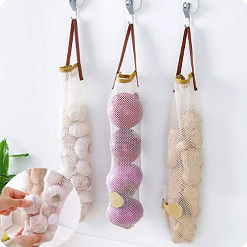 Skyoo 6 Pack opknoping mesh opbergzakken voor groenten, aardappelen, uien, knoflook, lange en grote herbruikbare netto opbergtas voor fruit groenten groene peper of vuilniszak