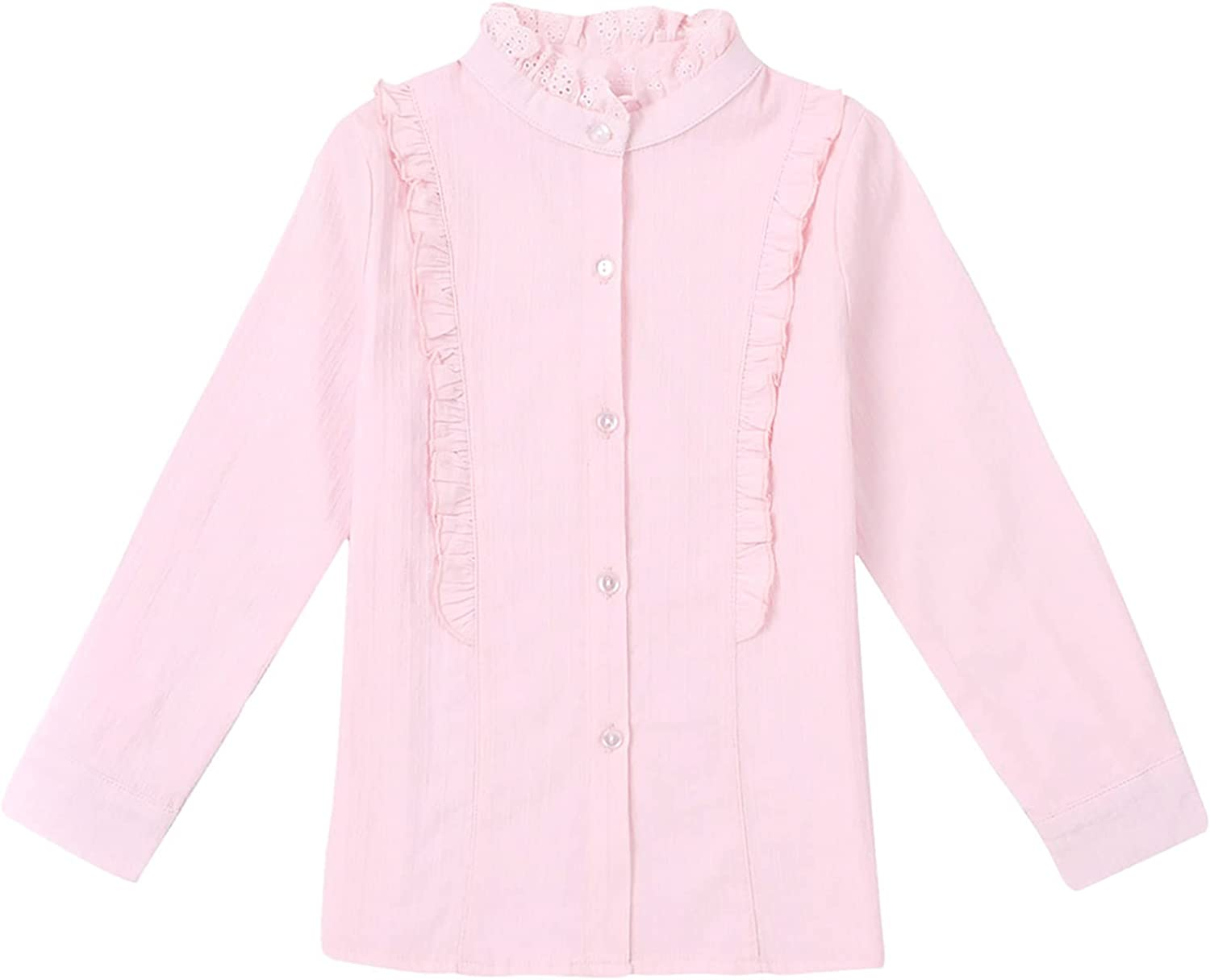 Freebily Little Girls Solid Color Button Down Blouse Ruffle Long Sleeve Loose Fit Shirt Tops Casual Wear